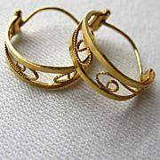 UNO A ERRE  18K Yellow Gold Filigree Hoop Earrings