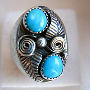 Handmade Navajo Sterling & Turquoise Feather Ring, Size 12.25
