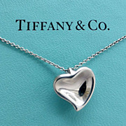 ELSA PERETTI Sterling Carved Heart Pendant Necklace