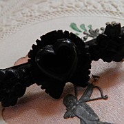 Antique Victorian Jet Mourning Brooch w/Heart, Horseshoe, & Leaves