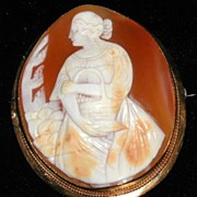 For the Country Lady at Heart A Victorian Cameo Brooch Peasant Lady