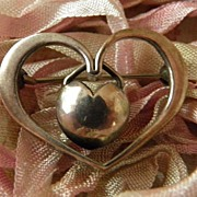Stunning Vintage c1950 Signed Mule Thers Sterling Denmark Heart within Heart Brooch