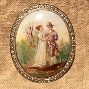 Large Romantic Hand Painted Transfer on Porcelain with Rhinestones Brooch