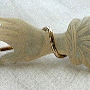 Delicate Vintage Mother of Pearl Hand Holding Crystal Stone & Gold Brooch
