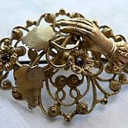 Charming Antique Victorian Gilt Filigree Hand Brooch