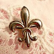 Vintage Sterling Fleur De Lis Watch Pin