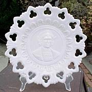 Milk Glass Christopher Columbus Plate
