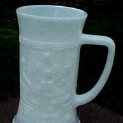 Milk Glass Beer Mug Tankard with 3 Men
