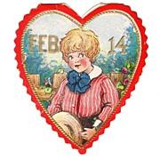 Embossed Vintage VALENTINE - 'Feb 14 Boy in Heart'