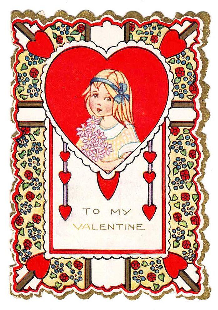 Vintage Valentine - 'Pretty Hair Ribbon Girl' - c.1920s