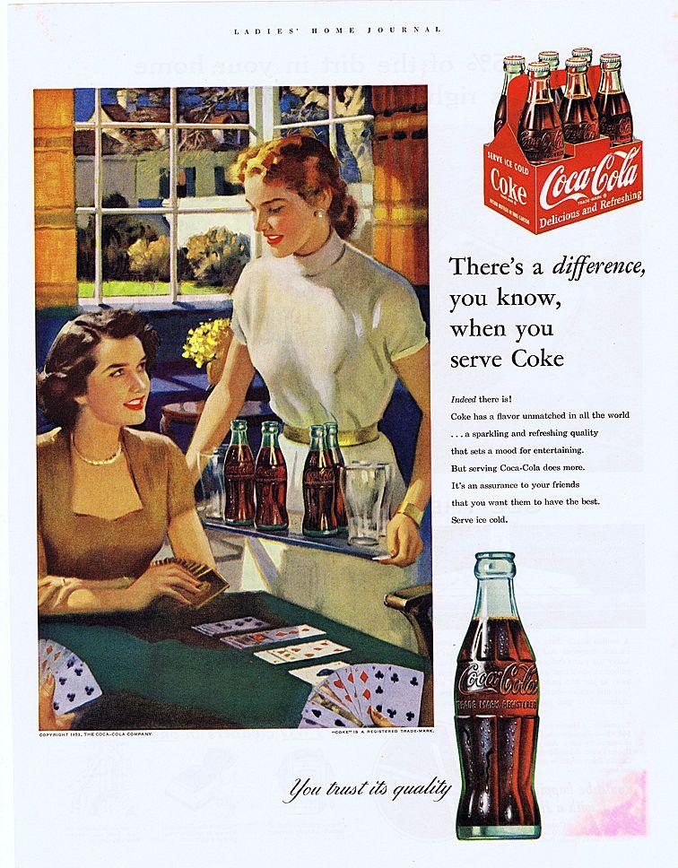 1953 Ad - Coke COCA-COLA - 'Ladies' Card Game'