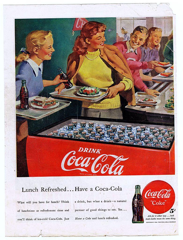 1948 Ads - Coca-Cola COKE - 'School Cafeteria' / Chesterfield Cigarettes  - w/ Hitchcock Film Stars (on reverse)