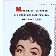 1952 Ad - Woodbury Powder - feat. Elizabeth TAYLOR