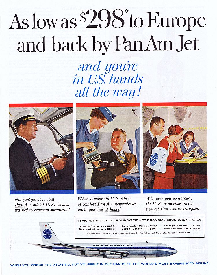 1960 Ad - PAN AM - 'As low as $298 to Europe ...'