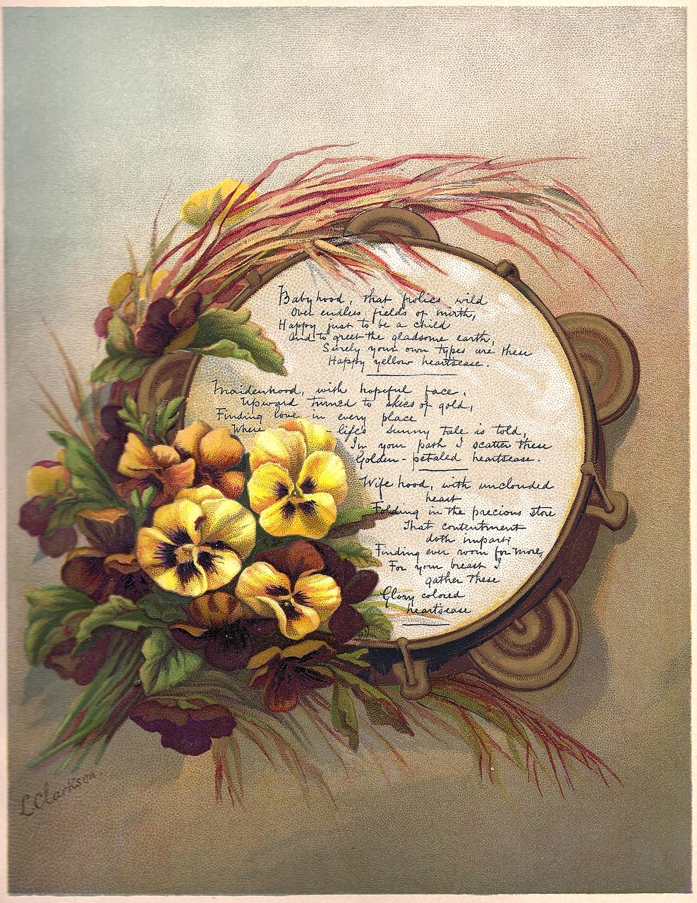 Antique PRINT - 'Yellow Heartsease PANSIES' ~ Victorian Chromolithograph c.1880s