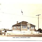 'POST OFFICE, Broadview, Sask.' - REAL PHOTO Postcard - Saskatchewan, Canada c.1920s