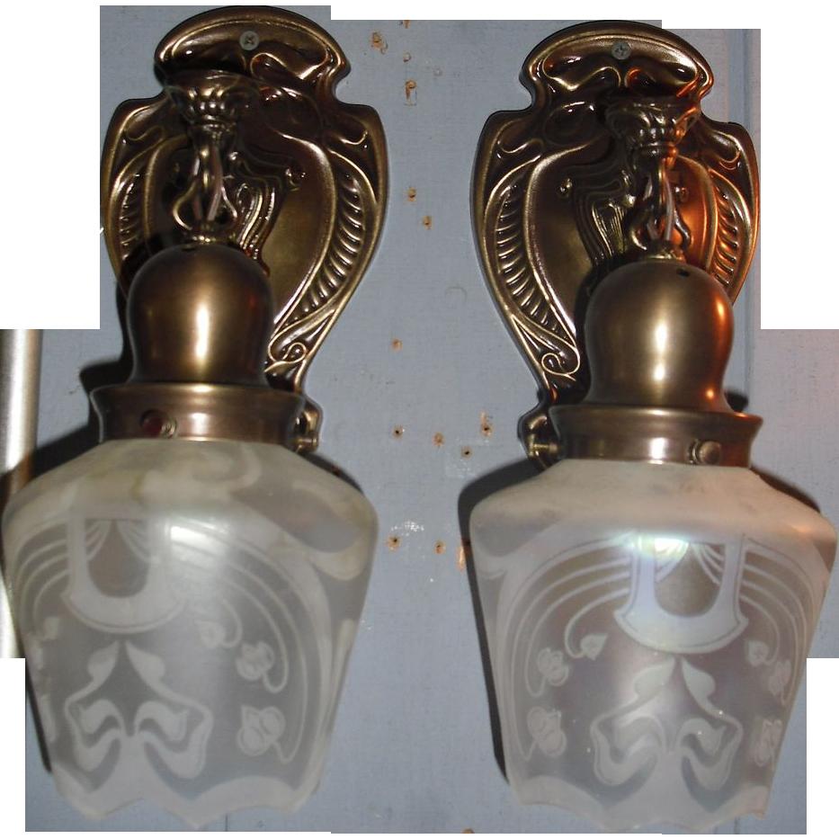 Art Nouveau Brass Sconces w Iridescent Acid Etched Shades
