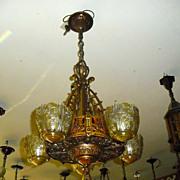 Art Deco 5 Light Slip Shade Chandelier - Lincoln