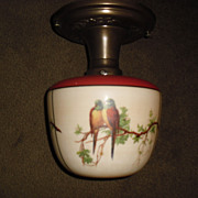 Consolidated Glass Decorated Ceiling Light with Parrots