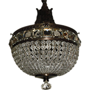 Crystal Beaded Pendant Light Fixture in Decorated Brass