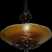 Durand Art Glass Bowl in Fancy Brass 2 Light Pendant