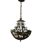 Spanish Revival Iron w Polychrome Finish Pendant Light