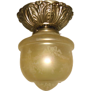 Amber Iridescent Acid-Etched Ceiling Light w Decorated Brass Fixture