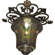 Amber Iridescent Acid-Etched Ceiling Light in Fancy Cast Brass Fixture