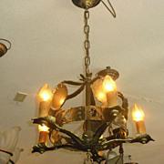 Tudor Cast Brass 5 Light Chandelier - 2 available