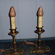 Tudor Cast Brass Mantle Lights or Table Lamps - Pair