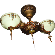 Art Deco 2 Light Flush Mount Ceiling Fixture - Gill
