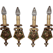 Tudor Brass Wall Light Fixtures w Original Polychrome Finish - set of 4