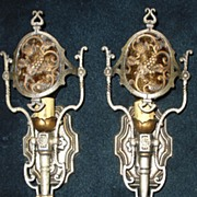 Lincoln Cast Bronze Wall Sconces - Original Silver Plated Finish