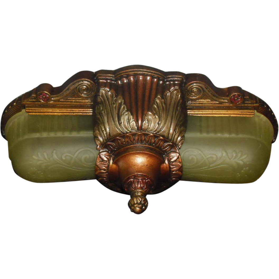 Art Deco Slip Shade Ceiling Light Fixture - 2 available