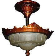 Art Deco 2 Light Flush Mount Ceiling Fixture