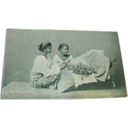Postcard - Lace Making, Ceylon