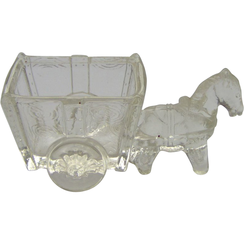 Glass Donkey And Cart Candy Container From