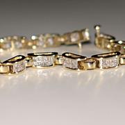 Estate Diamond Tennis Bracelet, Princess-Cut Diamond 14k Yellow Gold.