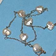 Estate Bracelet, Natural Baroque Pearl and 14k White Gold.