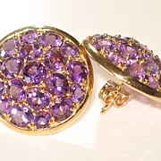 Fun and Fabulous!  Fantastic Amethyst & Gold Earrings 14K.  VERY Sparkly!