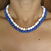 Natural Coral Bead Necklace and 14k Yellow Gold.