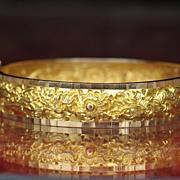 Estate, GOLDEN Dragon and Phoenix Bracelet, 18k Gold Bangle Bracelet.