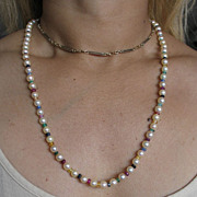 Vintage Cultured Pearl and Multi-colored Precious Gem Stone Necklace.