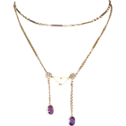 Antique Seed Pearl and Amethyst Necklace in 14k Yellow Gold.
