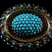 A Victorian 15ct Gold & Turquoise Brooch. Circa 1865.