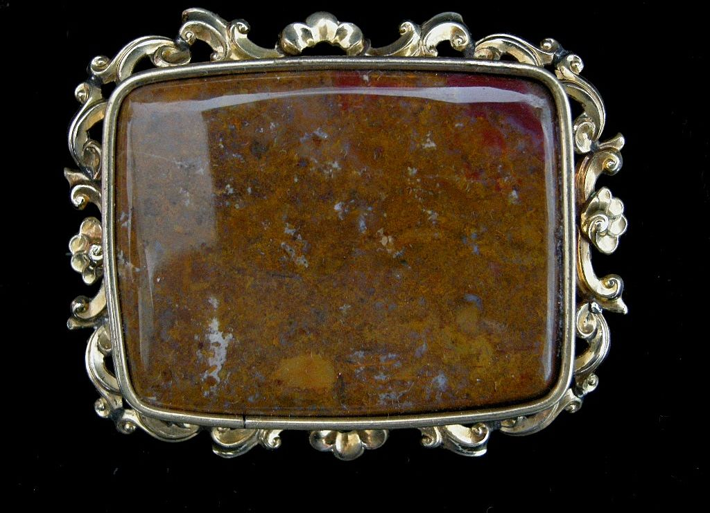 An Early Victorian Repousse Frame Plaque Brooch. Circa 1845.