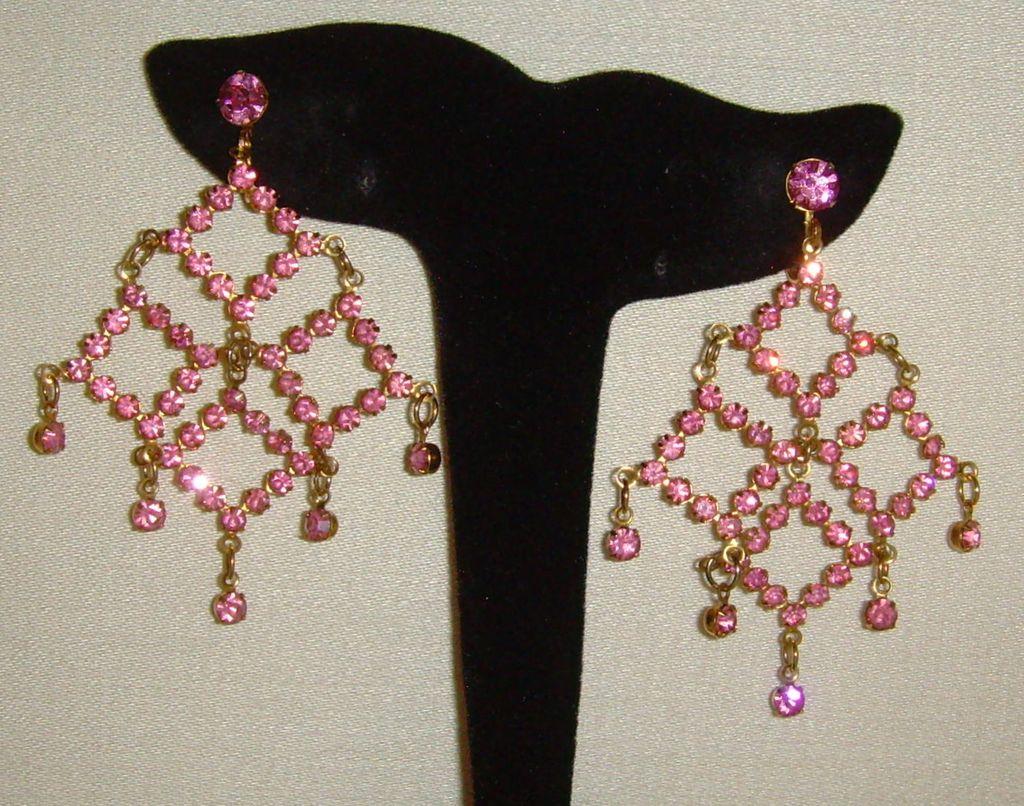 Gold-Tone and Pink Rhinestone Dangle Earrings