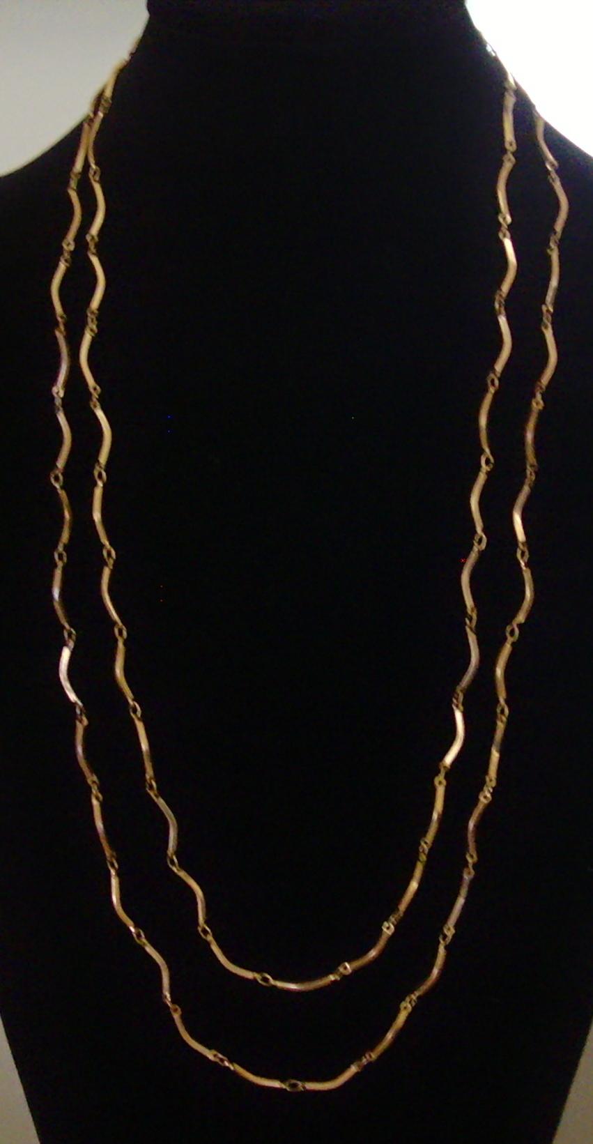 Double Strand Gold-Tone Tubular Link Necklace