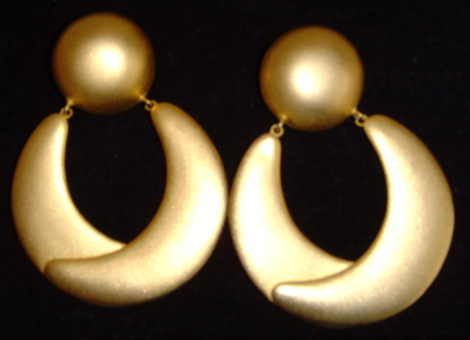 Matte Gold-Toned Large Hoop Earrings