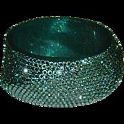 Lucite and Acrylic Crystal Bangle Style Bracelet